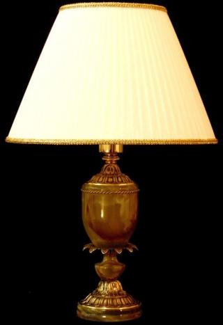 Лампа настольная из оникса абажур из ткани НК-О-10