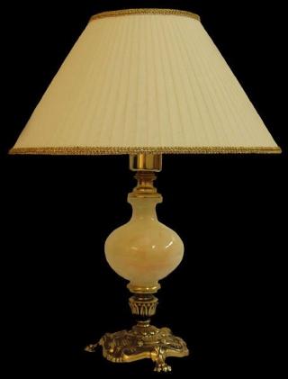 Лампа настольная из оникса абажур из ткани НК-О-19