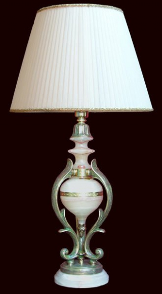Лампа настольная из оникса абажур из ткани НК-О-26