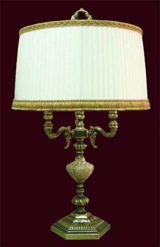Лампа настольная из оникса абажур из ткани НК-О-33