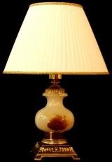 Лампа настольная из оникса абажур из ткани НК-О-05М