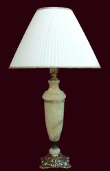 Лампа настольная из оникса абажур из ткани НК-О-11