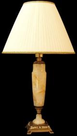 Лампа настольная из оникса абажур из ткани НК-О-12