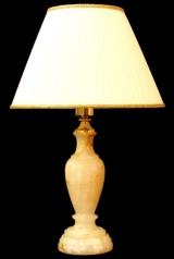 Лампа настольная из оникса абажур из ткани НК-О-14М