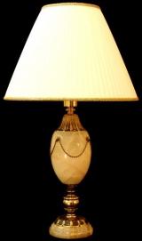 Лампа настольная из оникса абажур из ткани НК-О-16