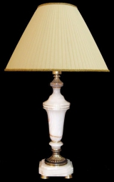 Лампа настольная из оникса абажур из ткани НК-О-18
